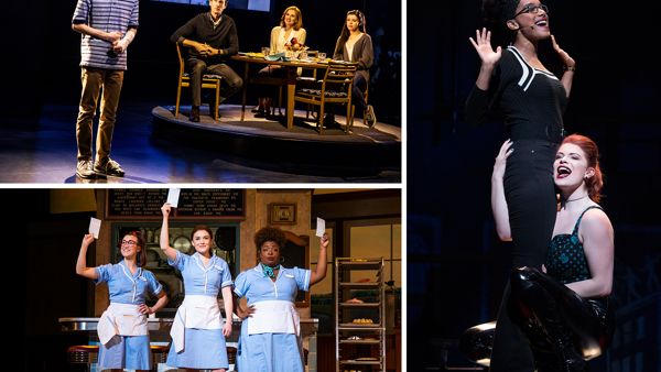 Scenes from Dear Evan Hansen, Waitress, and Rent.